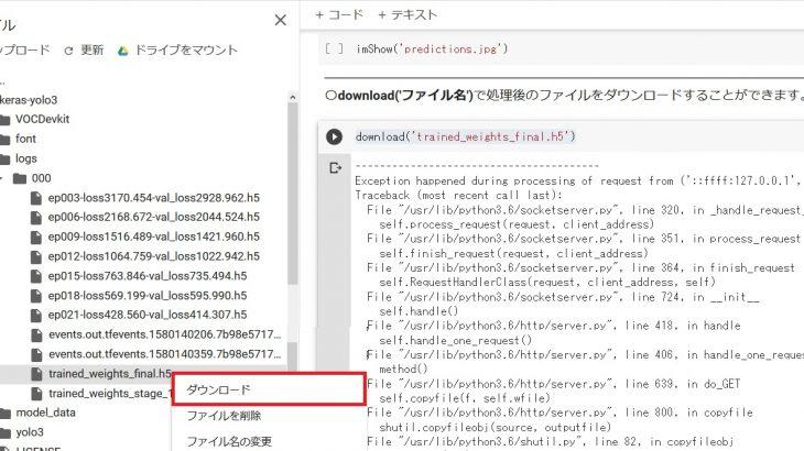 GoogleColabで学習した重みをローカルにダウンロードするときに発生したエラー